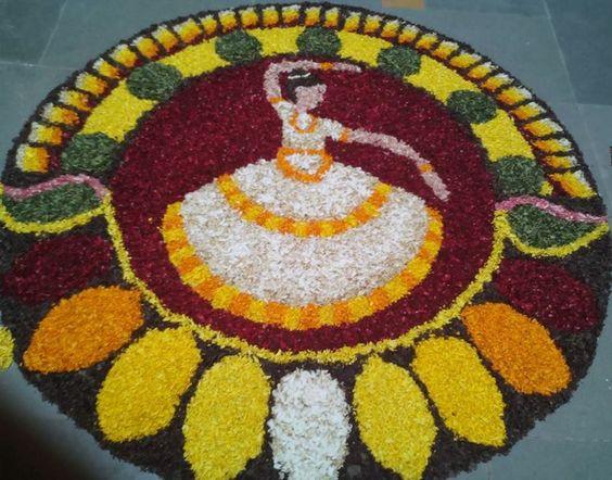 8. Kerala Kathakali poo kolam