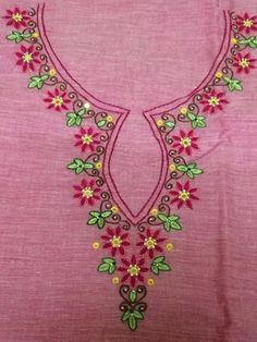 9. Pink Top with small flowers and leaves embroidery design