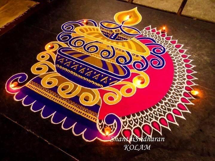 19.Diya Rangoli for diwali