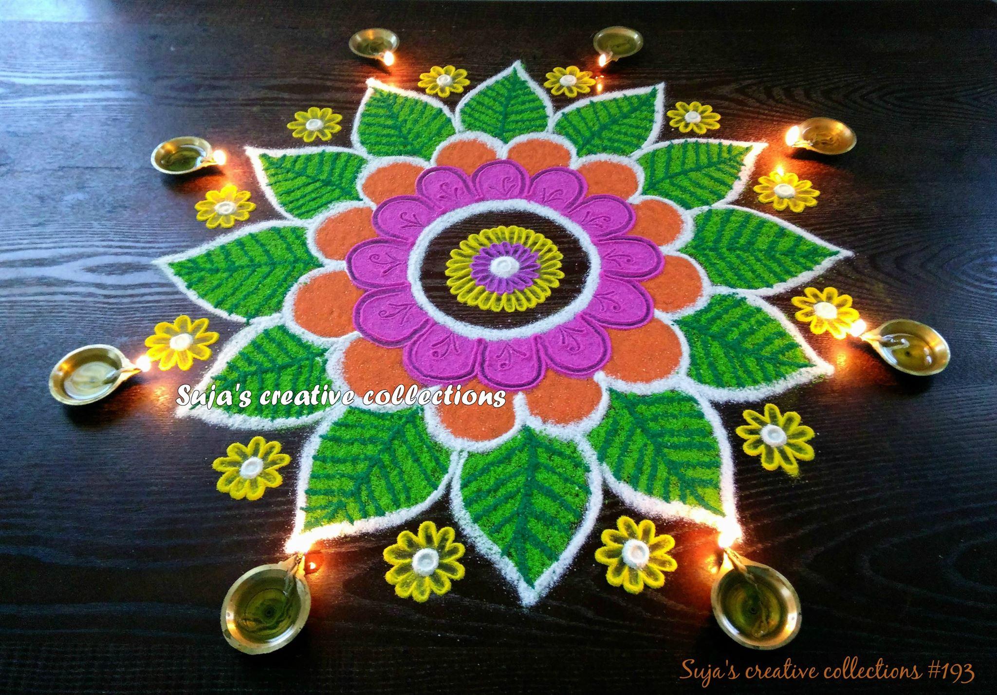 7.Floral design Rangoli for Diwali