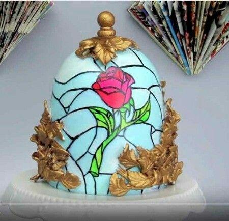 4.Glass Dome Rose Cake