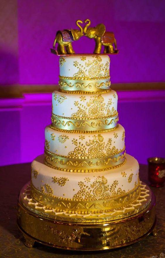 Gold Art Deco wedding cake