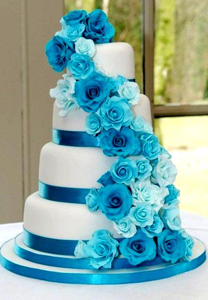 35 eye catching cake ideas for wedding wedandbeyond blue roses wedding cake junglespirit Image collections