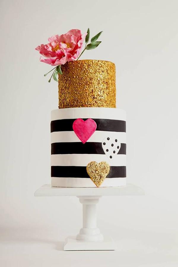 Modern gold and striped wedding cake