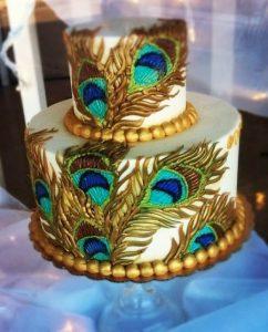 32.Golden Peacock Wedding Cake
