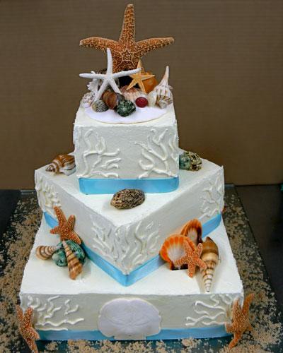 35.Blue Beach Wedding cake