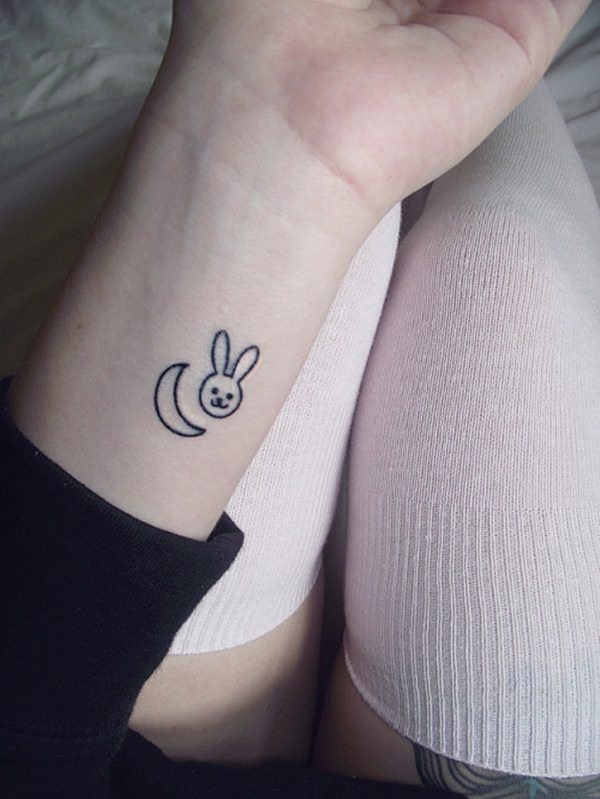 27.Moon and Rabbit Tattoo
