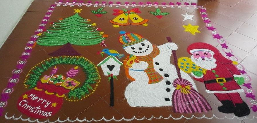 3.Snowman,Christmas tree and Birds Rangoli
