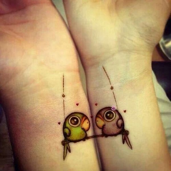 52.Cute love Birds Tattoo