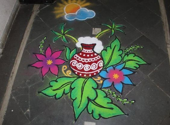 2.Red Pongal Pot with Leaves