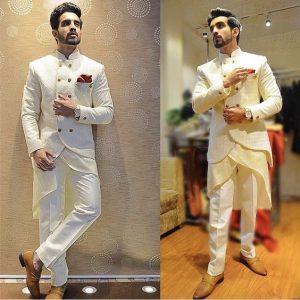 7.Designer white Sherwani