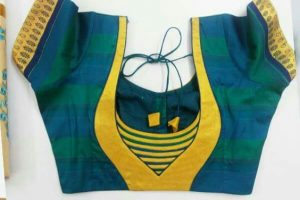 10.Blue blouse with yellow work