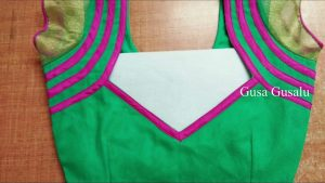 11.Green blouse with purple work