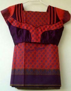 28.Dark Purple with Orange Work Blouse