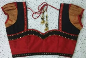 56.Red Blouse with Black Work