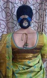 19.Bun with Blue gajra hairstyle
