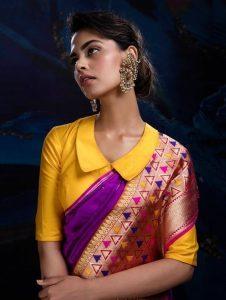 20.Trendy collared blouse design for silk saree
