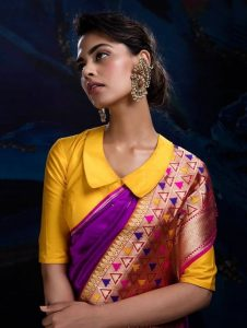20.Trendy collared blouse design for silk saree
