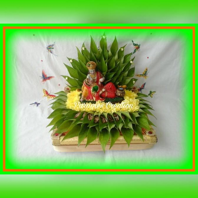 28.Radha krisha betel leaves plate decoration
