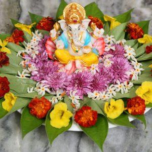 4.Ganesha Betel leaf decoration with flowers
