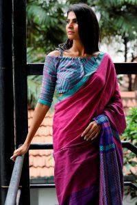 5.Three fourth sleeve blouse design
