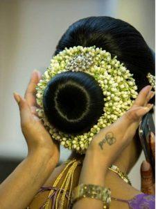 6.Small Bun Hairstyle with Jasmine gajra
