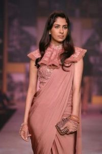 8.Frilled and collared blouse design