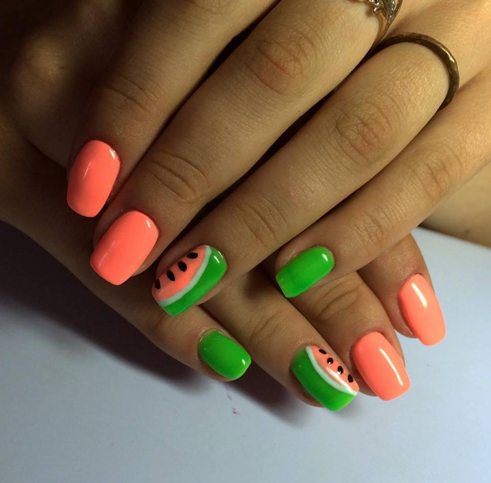 1.Cute Watermelon Nail Art