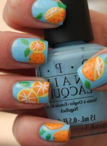 13.Orange Nail Art