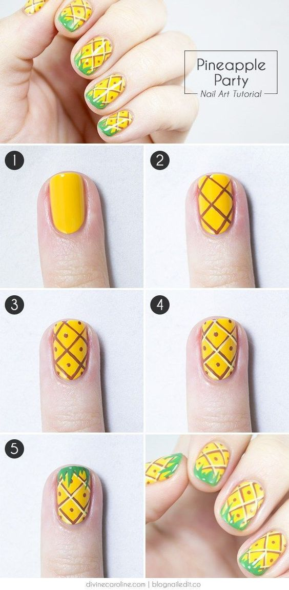14.Steps for Pineapple nail art