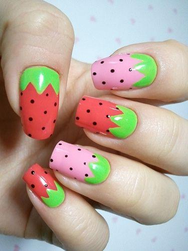 15.Colourful Watermelon Nail art