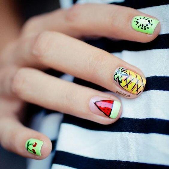 16.Easy Mixed Fruit Nail Art