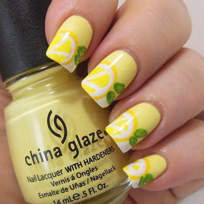 17.Yellow Lemon Nail Art