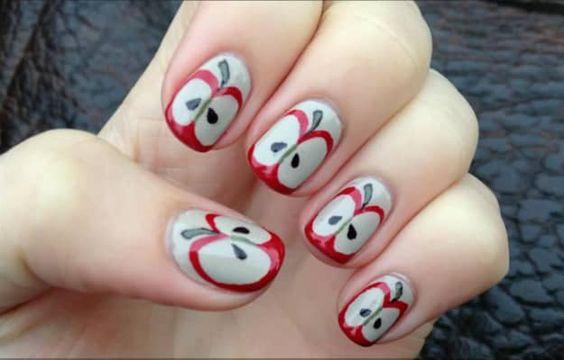 18.Simple Cut apple nail art