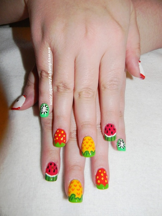 19.Mixed fruit for two hands nail art