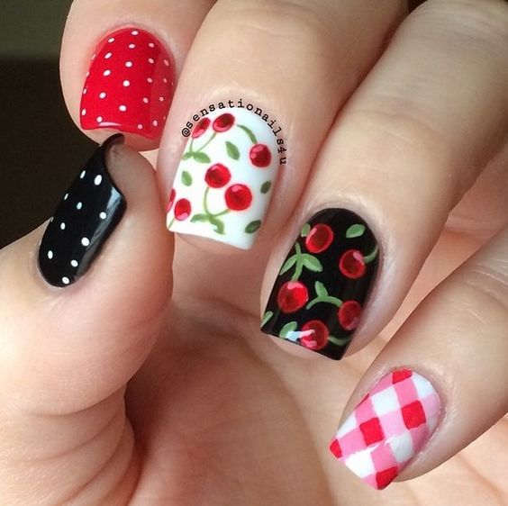 5.Black and white Cheery Nail art