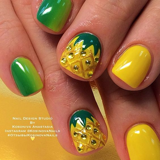 8.Pineapple Nail art