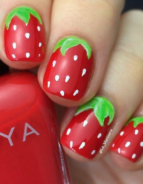 11.Strawberry Nail art