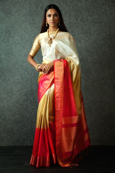 White with red big border Silksaree