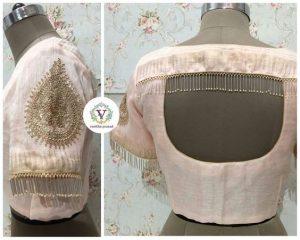 14.String tassels in High back neck blouse design