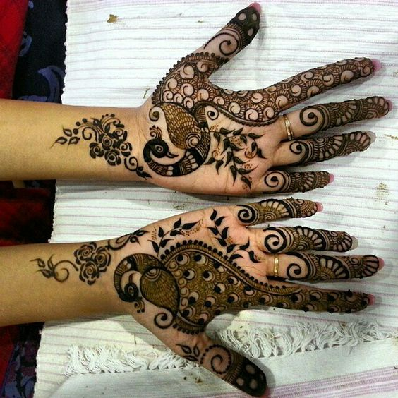 18.Easy Peacock Mehndi Design Art