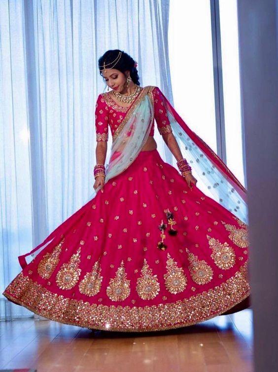 18.Glittering pink white bridal Lehnga