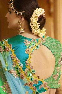 19.Green with Blue High back neck blouse design