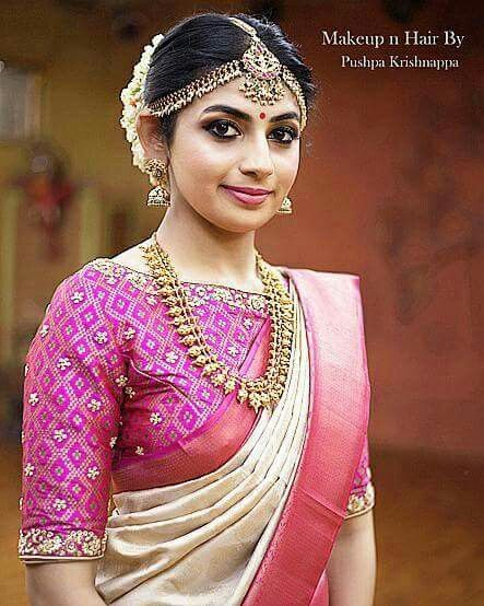 19.Gorgeous pink border silksaree