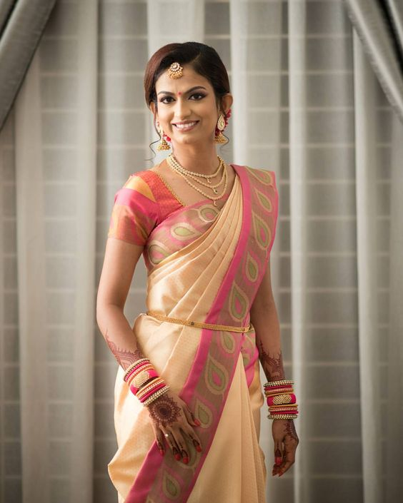 2.Elegant Beige with pink border silksaree