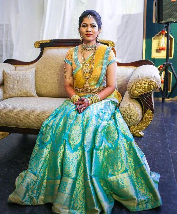23.yellow with cyan bridal lehnga