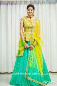 24.Glittering work yellow lehnga