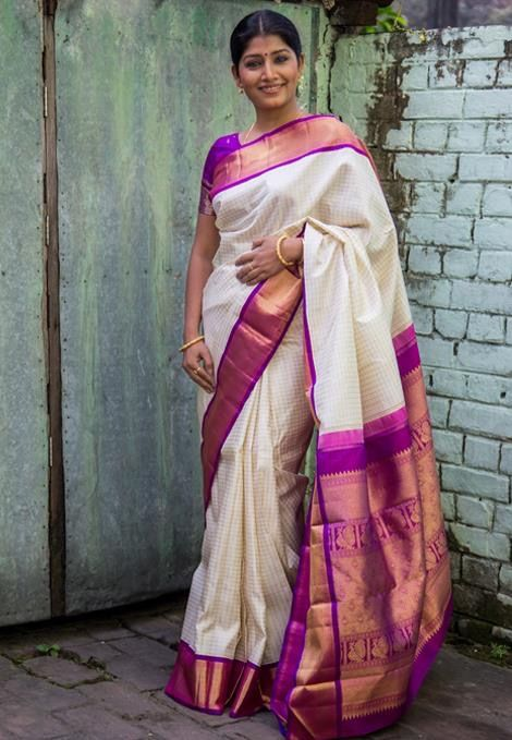 27.Purple Border Silksaree