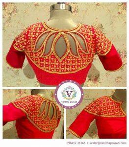 28.Red Lotus High neck Back Blouse design