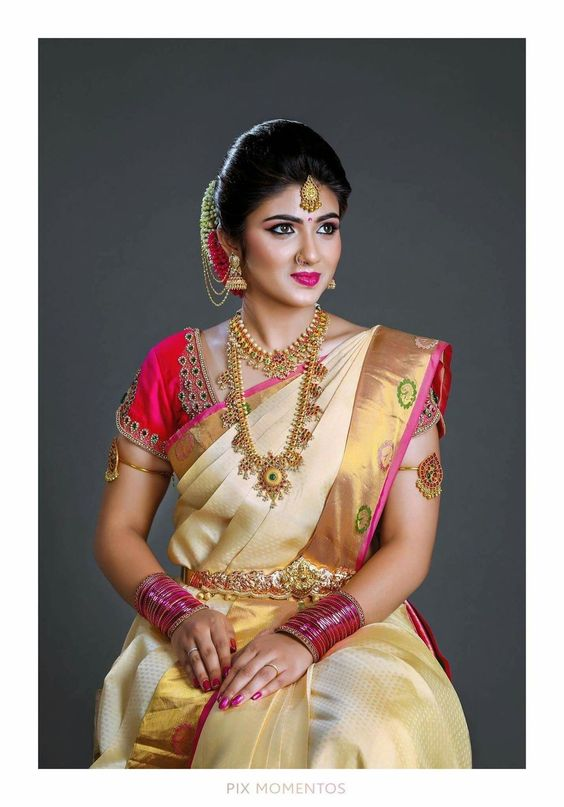 3.Beige with golden pink border silksaree